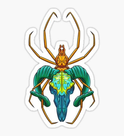 Bright Spider Skull Sticker