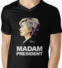 Hillary Clinton Madam President Men's V-Neck T-Shirt