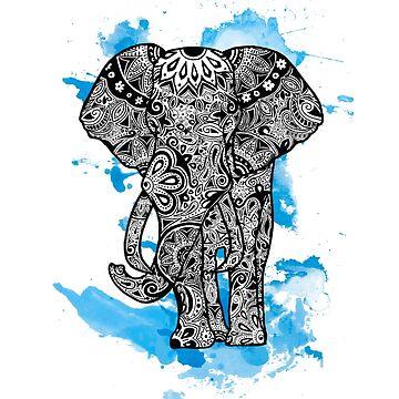 Tribal Elephant- Blue by tiffany8433