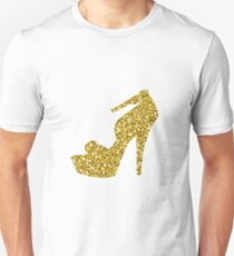 Strappy Gold Glitter Shoe Unisex T-Shirt