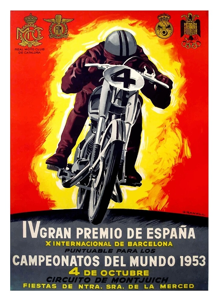 1953 Spanish Grand Prix Motorcycle Race Poster by retrographics