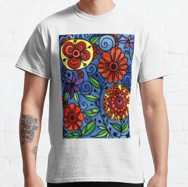Abstract Colorful Flowers Classic T-Shirt