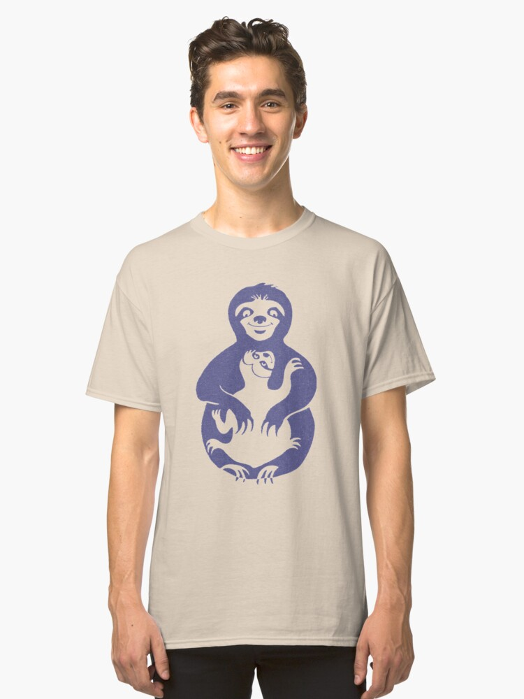 Momma Sloth and Baby in Retro Blue Classic T-Shirt Front