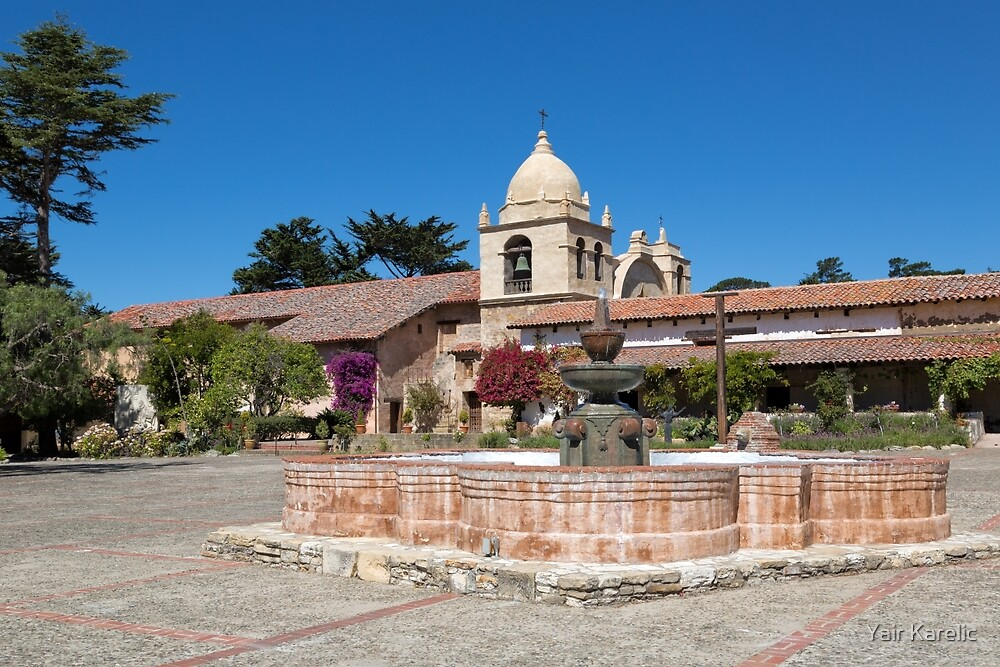 The Courtyard Fountain, Carmel Mission by Yair Karelic