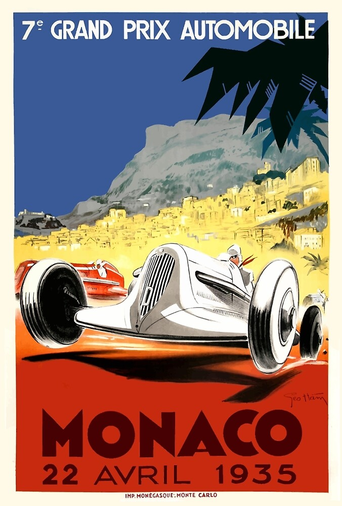 1935 Monaco Grand Prix Race Poster by retrographics