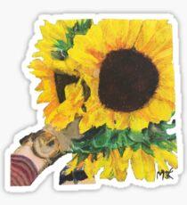 Woman Holding Sunflowers Sticker