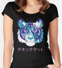 Vaporwave Tiger Women's Fitted Scoop T-Shirt