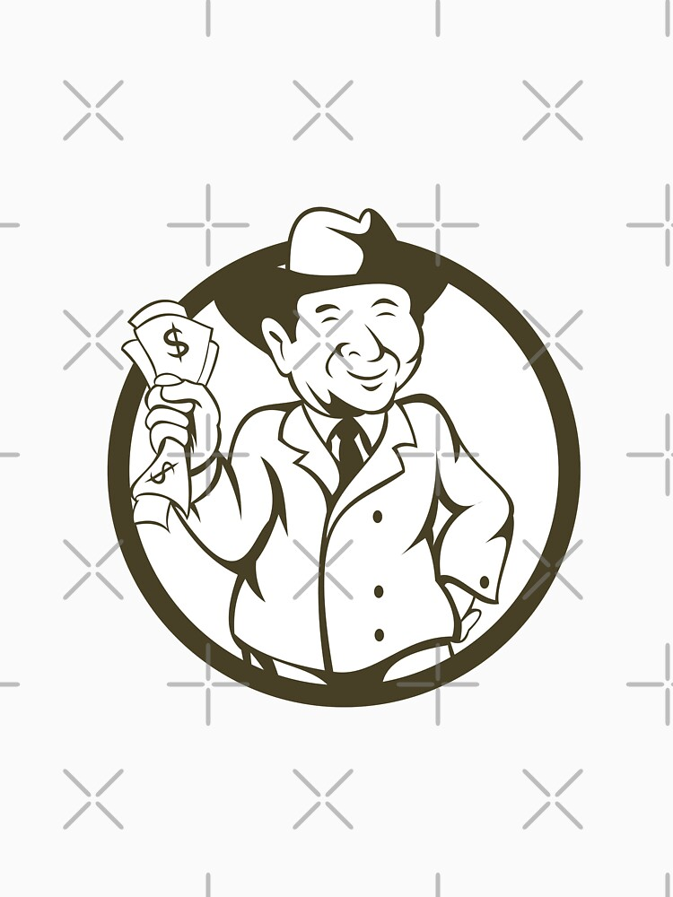 Businessman Fedora Hat Bank Notes Circle Cartoon by patrimonio