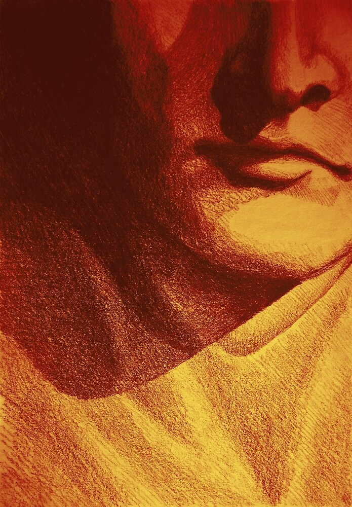 Colorful detail drawing of man face by oanaunciuleanu