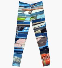 Boats in the water in Vernazza Leggings
