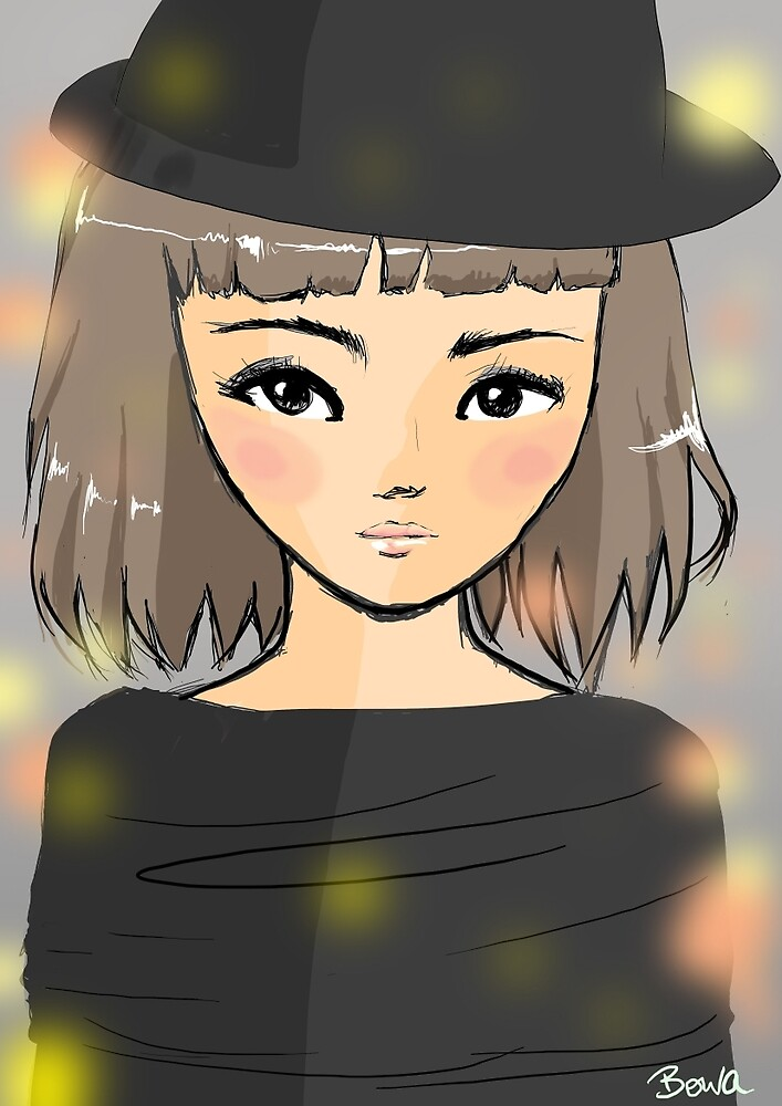 pretty girl in hat by bowakitty
