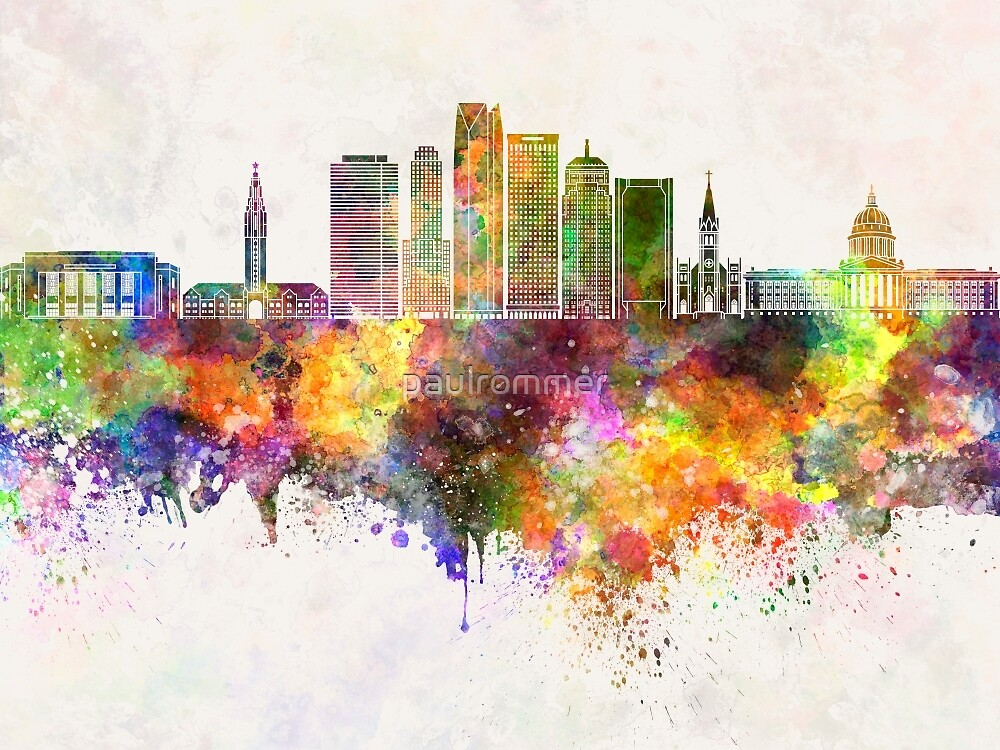 Oklahoma City skyline in watercolor background by paulrommer