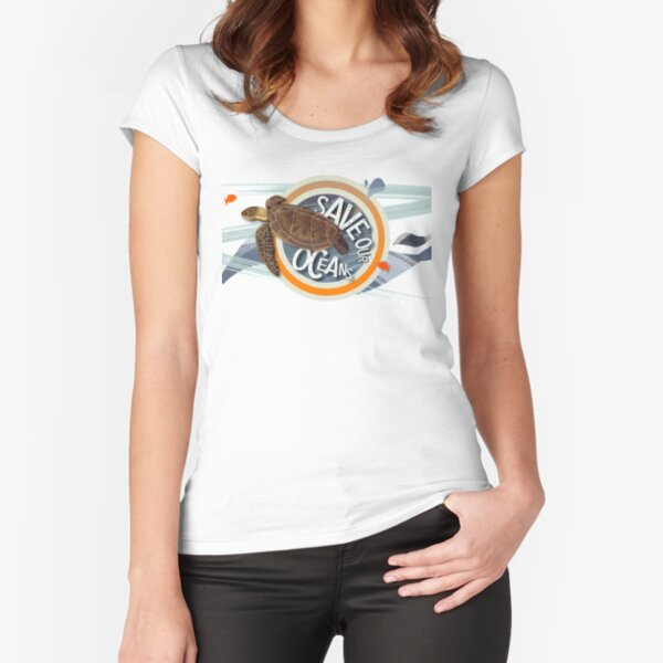 Save our Oceans - Cute turtle save the seas range for wild open water swimmers - Caroline Laursen Original Fitted Scoop T-Shirt