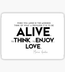 what a privilege it is to be alive - marcus aurelius Sticker
