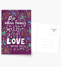 Do Small Things With Great Love, Mother Teresa Quote, Lettering, Butterfly And Leaf Doodle, Inspirational Postcards