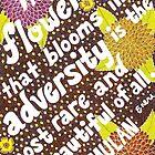 Die Blume, die in der Not blüht, Mulan-Zitat, Beschriftung, Blume und Blatt-Gekritzel, inspirierend von Eneri Collection