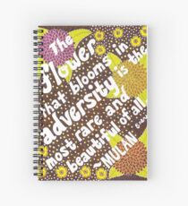 The Flower That Blooms In Adversity, Mulan Quote, Lettering, Flower And Leaf Doodle, Inspirational Spiral Notebook