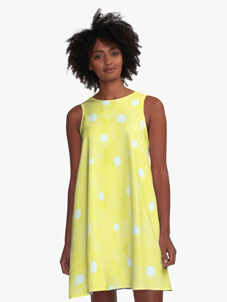 Vintage Happy Yellow White Polka Dots A-Line Dress Front