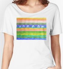 Blue Trees within Striped Landscape Women's Relaxed Fit T-Shirt