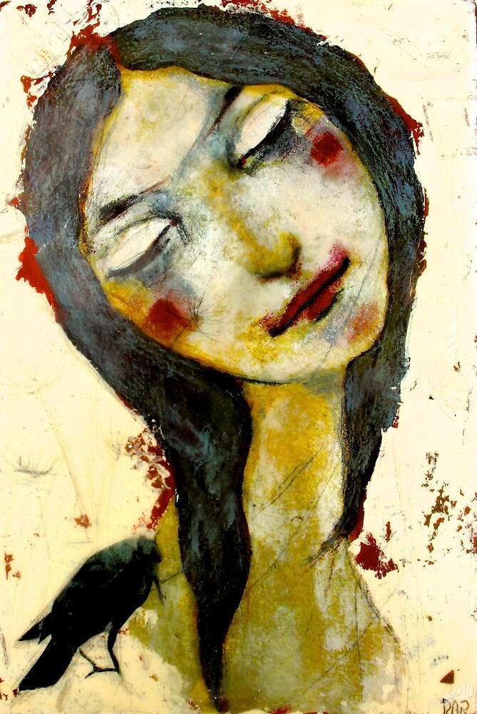 Girl with black bird by Reny Kramer