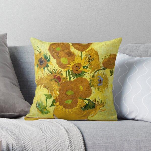 1889-Vincent van Gogh-Sunflowers-73x95 Throw Pillow