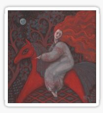 """""""Red Horse"""", redhaired woman, magic night forest, folk art Sticker"""