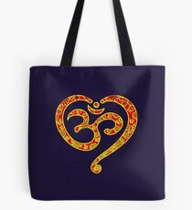 OM Heart, Mantra, Symbol Love & Spirituality, Yoga Tote Bag