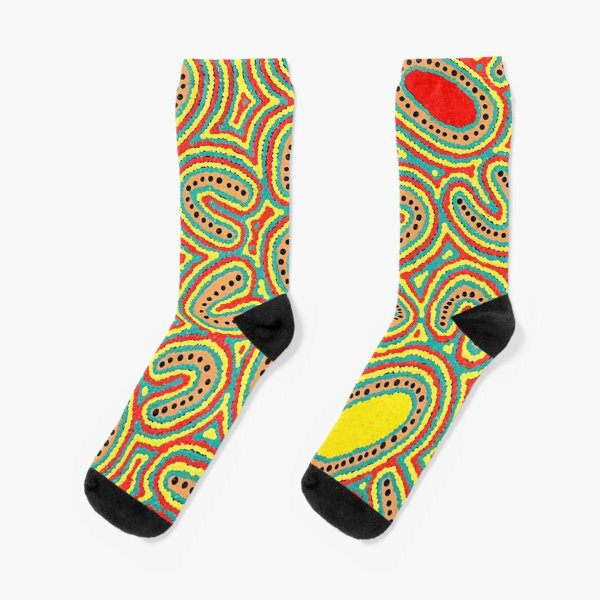 Australian Aboriginal Art - NATIVE SEED DREAMING 2 Socks