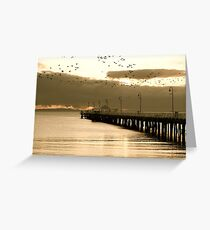 Cormorants over Pier Greeting Card