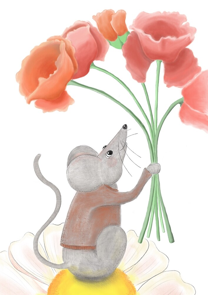 Mouse and poppies by Claudia Burns
