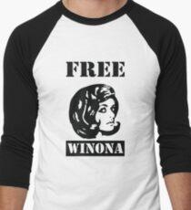Winona Ryder - Free Winona Men's Baseball ¾ T-Shirt