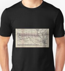 0276 Railroad Maps Map of the Hannibal St Joseph Railroad and its connections published by the American Railway Review New T-Shirt