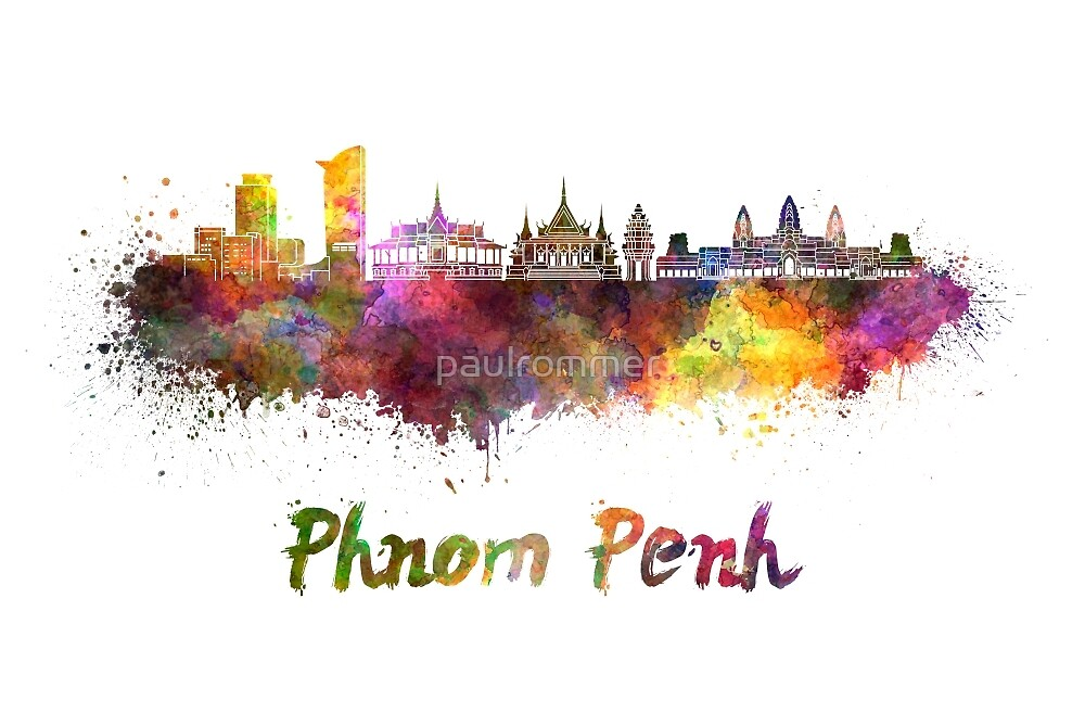 Phnom Penh skyline in watercolor by paulrommer