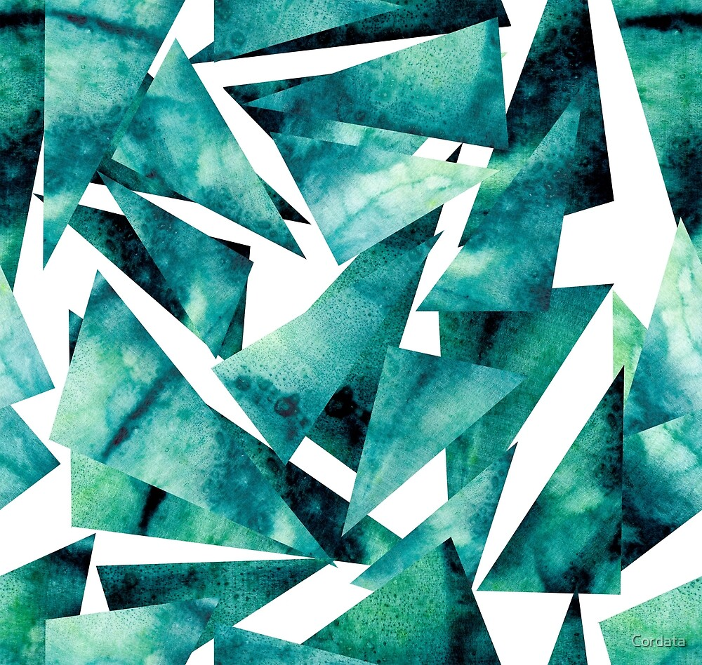Watercolor Grunge Blue and Green Triangles by Cordata