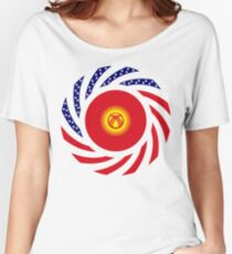 Kyrgyzstan American Multinational Patriot Flag Series Women's Relaxed Fit T-Shirt
