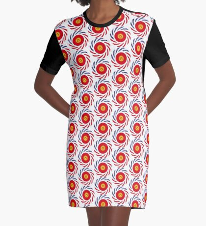 Kyrgyzstan American Multinational Patriot Flag Series Graphic T-Shirt Dress