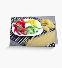Closeup view of a vegetarian dish of raw vegetables Greeting Card