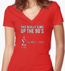 Math Equation: This really sums up the 90's Women's Fitted V-Neck T-Shirt