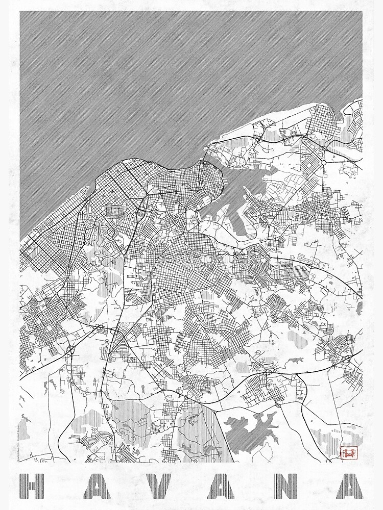 Havana Map Line by HubertRoguski