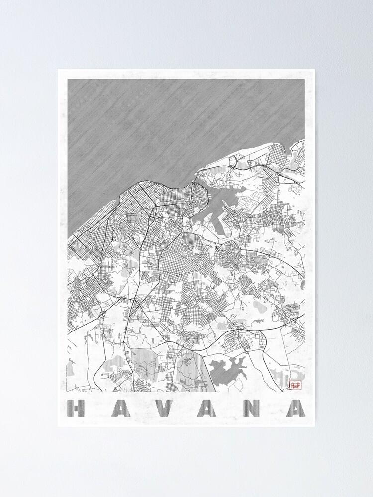 Alternate view of Havana Map Line Poster
