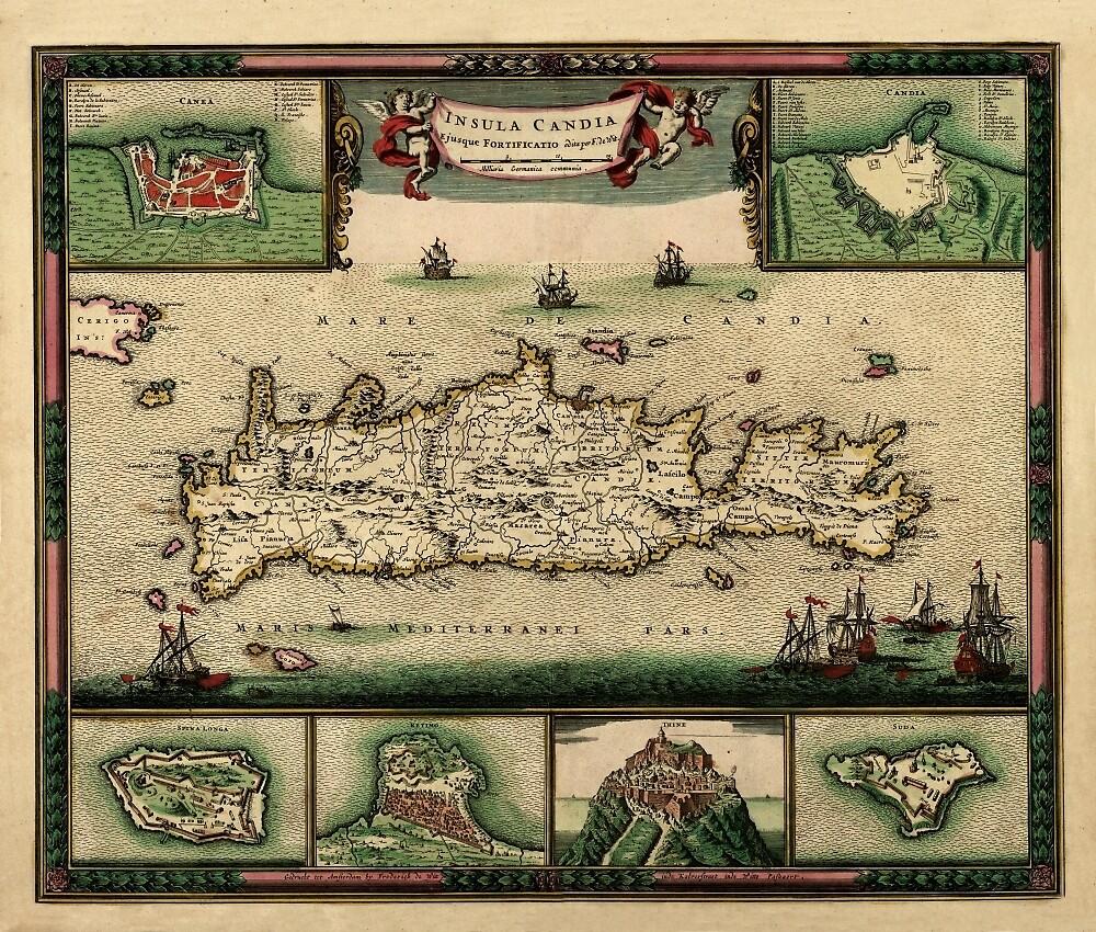 Map Of Crete 1670 by mollyfare