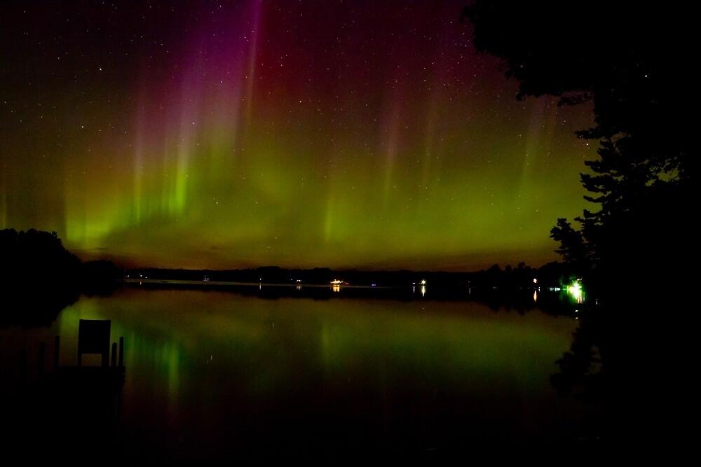 Aurora Borealis over Lake Nokomis by Dennis Deitz