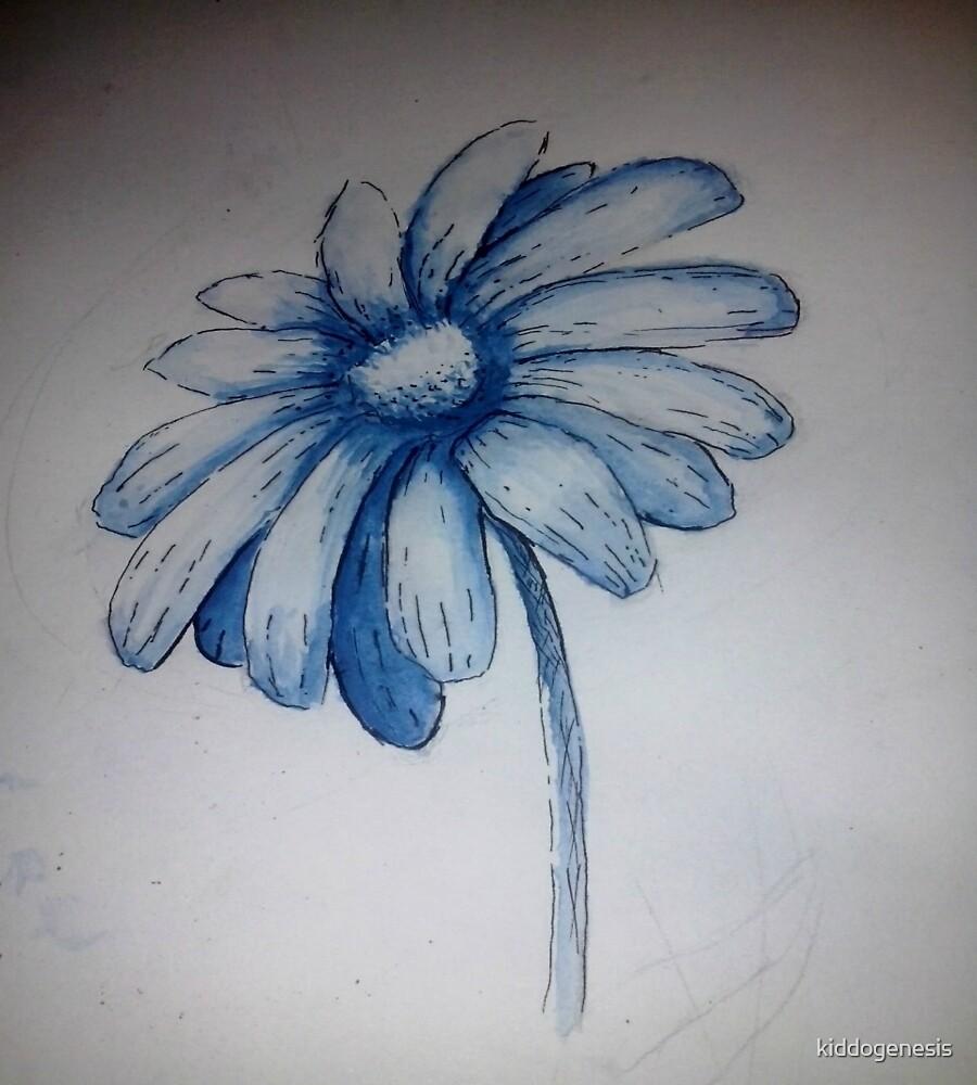 blue daisy flower by kiddogenesis