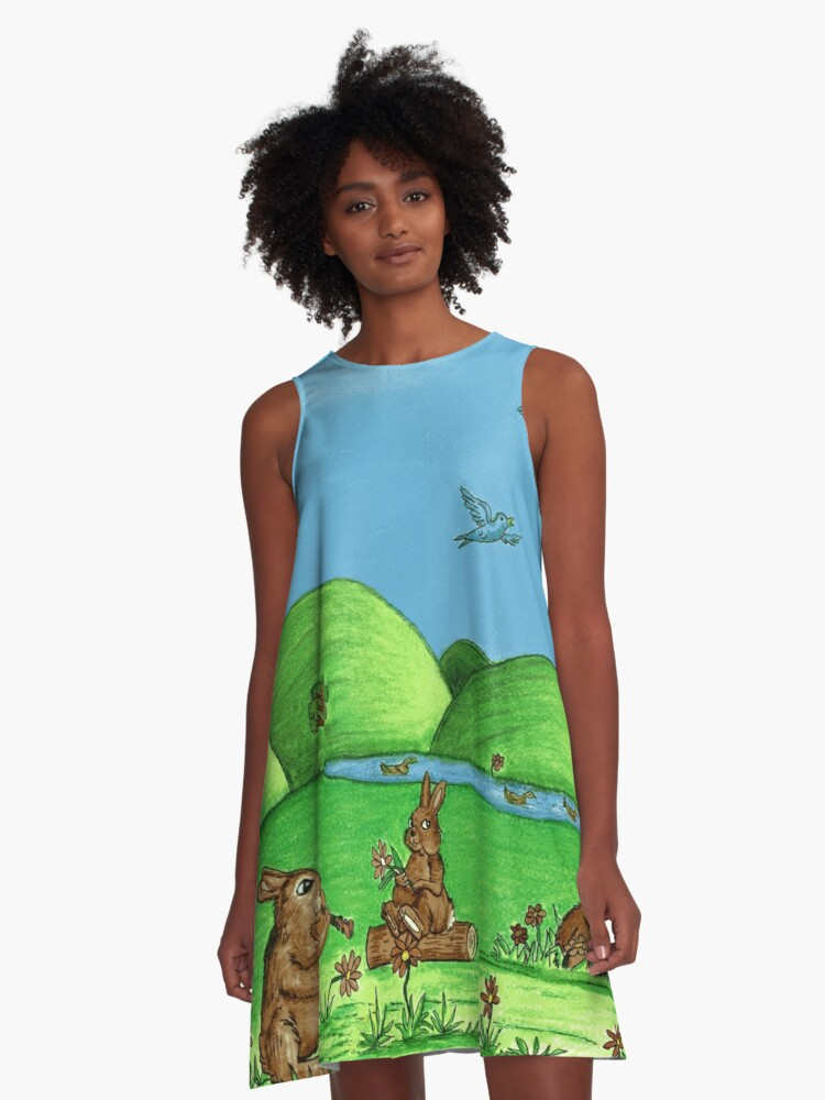 Country Bunnies A-Line Dress Front