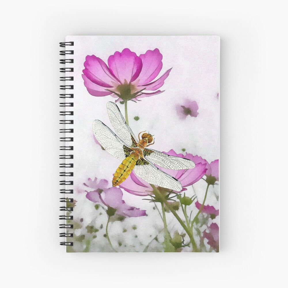 Broad bodied Chaser Dragonfly Insect on Cosmos Watercolor Painting Artwork Spiral Notebook