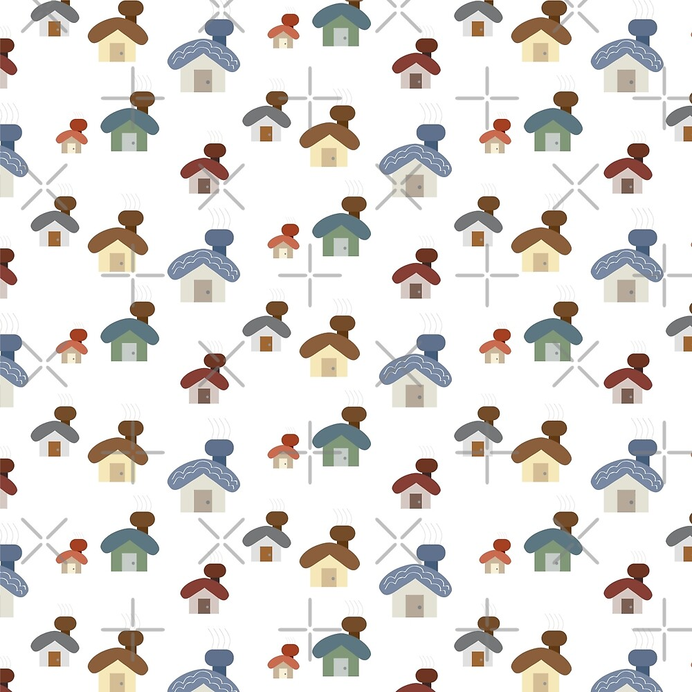 small cute cartoon house set pattern background by jennythip