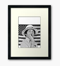 Young Obama smoking with American Flag Framed Print