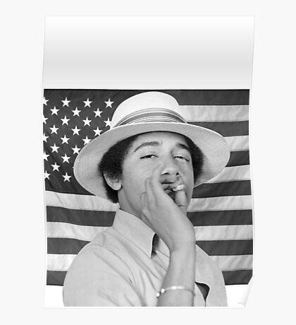 Young Obama smoking with American Flag Poster