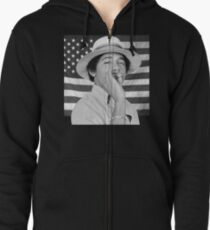 Young Obama smoking with American Flag Zipped Hoodie