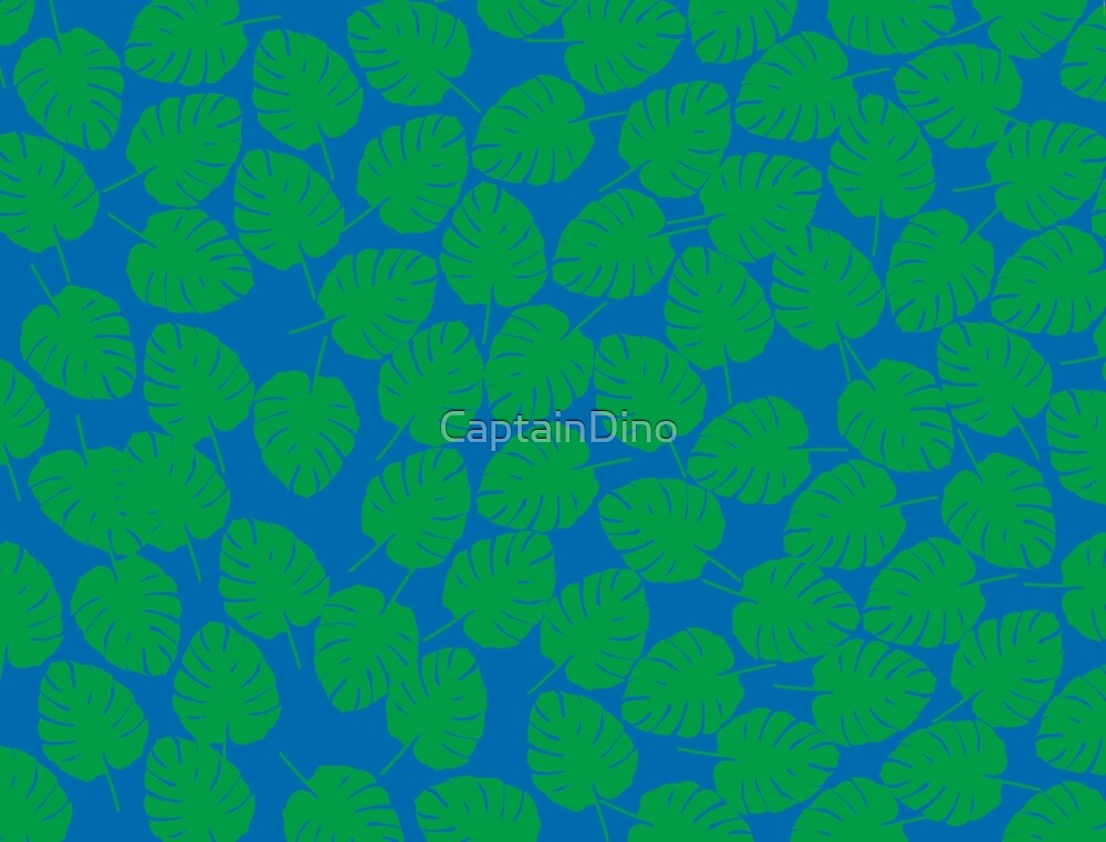 Palm Leaves Print - Blue/ Green by CaptainDino